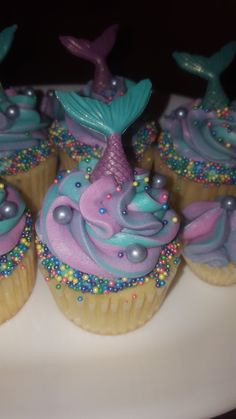 Very Vanilla Cupcakes with hand-made chocolate sparkly mermaid tails that sit in colorful swirls of buttercream. Mermaid Birthday Cakes, Little Mermaid Birthday, Little Mermaid Parties, Little Mermaid Cupcakes, Barbie Birthday, 5th Birthday, Mermaid Party Decorations, Mermaid Baby Showers, Barbie Cake