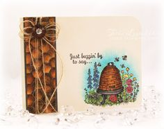 Stamp Talk With Tosh - Flourishes, Bees, Bee Skep, Copic, Nature - check out the inside of the card too