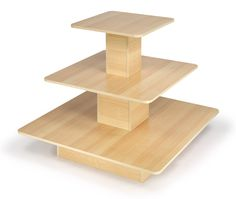 """48"""" x 48"""" Tiered Display Table w/ 3 Shelves, Square - Maple"""
