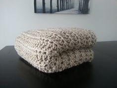 Free Shipping Modern Crochet Blanket  Natural by MakeItCozyCrochet