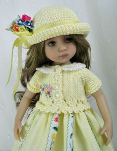 Outfit-for-Dianna-Effner-Little-Darling-13 Doll-by-Ulla-Lemon-Yellow