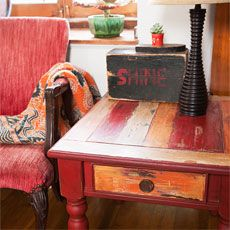 end table painted with a Boat-Wood Effect Patina. From this old house magazine