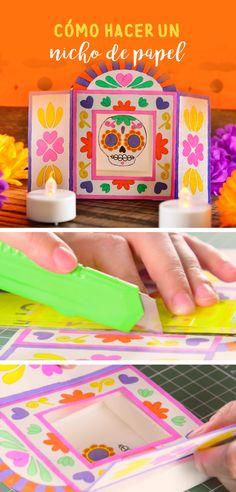 Esta idea original te encantará, es un nicho de papel ideal para poner en la ofrenda, solo necesitas papel, pegamento y cutter y en cuestión de minutos tendrás un resultado espectacular. Echa a volar tu imaginación y crear diseños increíbles. Manualidades Halloween, Diy Tumblr, Gift Wrapper, Girl Scouts, Handmade Christmas, Washi, Origami, Christmas Cards, Paper Crafts