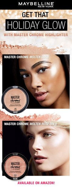 Maybelline Master Chrome Highlighter is a must-have for the winter season! Here's a tip, apply the Maybelline Master Chrome Highlighter to the tops of cheekbones, cupid's bow, bridge of your nose and the brow bone. Just one swipe of this metallic, buttery highlighter and you're good to glow! Day Makeup, Makeup Goals, Makeup Tips, Beauty Makeup, Hair Beauty, Makeup Hacks, Maybelline Makeup, Drugstore Makeup, Cream Contour