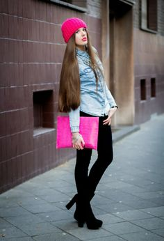 denim shirt leggings pink purse and boots