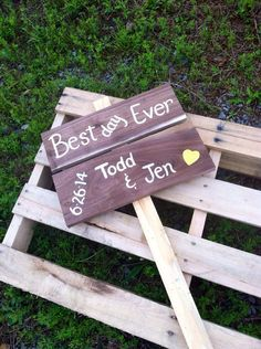 Best day ever rustic wedding sign custom with your name and date on Etsy, $34.00