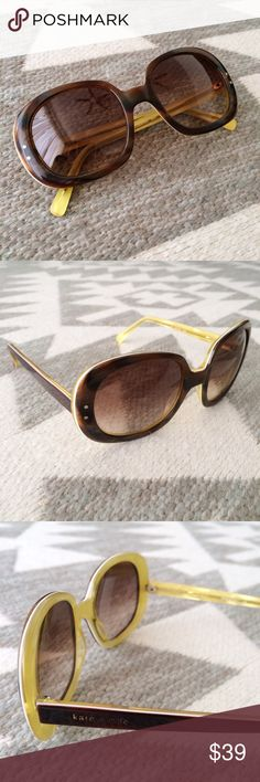 """Kate Spade """"Gladys"""" Sunglasses """"Gladys"""" style sunglasses by Kate Spade. Tortoise frames with yellow edging and subtle yellow tint lenses. Love these, but unfortunately had to switch to prescription! Very gently worn -- I no longer have the case or cleaning cloth, but lenses are scratch free. Only sign of wear is some fading on tiny Kate Spade logo. Lots of wear left in these! Style is timeless. kate spade Accessories Sunglasses"""