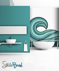 Items similar to Wall Mural Decal Sticker Arco Ocean Wave Green Color Mcrespo120 on Etsy