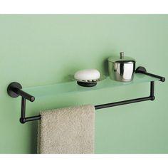 OIA Glass Shelf with Towel Bar, Oil Rubbed