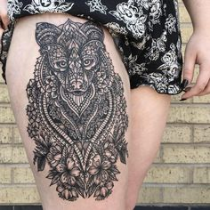 http://tattooideas247.com/fox-mandala-thigh/ Fox Mandala Tattoo #BlackInk, #Cute, #Fox, #LauraWeller, #Leg, #Mandala, #Pretty, #Thigh