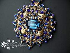 Bead embroidered Pendant BLUE necklace Beadwork EBW by MaewaDesign, €64.00