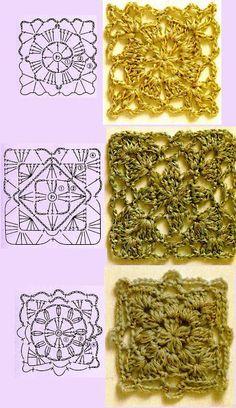 Szablony kwadracikow do zszywania – coffer of knitting paterns Point Granny Au Crochet, Grannies Crochet, Plaid Crochet, Granny Square Crochet Pattern, Crochet Blocks, Crochet Diagram, Crochet Chart, Crochet Squares, Crochet Doilies