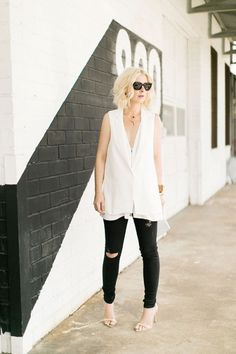 Long white vest and black pants  #summer #vibes #currentlycoveting