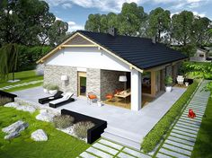 Zdjęcie projektu Daniel G2 energo WRC2608 House Floor Design, Modern House Floor Plans, Small House Design, Dream Home Design, My Dream Home, Tyni House, Facade House, Investment House, Small Modern Home