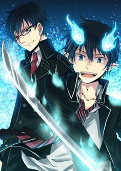 rin okumura yukio okumura ao no exorcist Anime Chibi, Manga Anime, Anime Art, Ao No Exorcist, Blue Exorcist Yukio, Blue Exorcist Funny, I Love Anime, Awesome Anime, Anime Guys