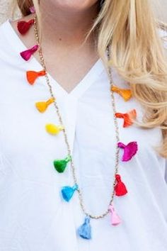 This necklace can be completely customized to your taste, using your favorite color, or color combination, for the fun tassels