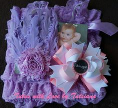 purple romper set with matching bow and feather pad headband Romper Outfit, Feather, Rompers, Bows, Purple, Beautiful, Arches, Bowties, Romper