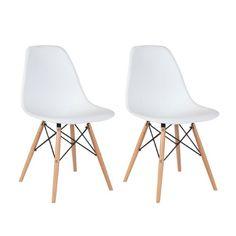 BELLEZZA© Set of (2) DSW Eames Style Side Dining Steel Chair Dowel Base Wooden Legs, White