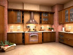 Oresi Imperia. I love the combination of wood and bricks in the kitchen.