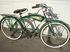 1937 Schwinn Cantilever Autocycle - A numbered Schwinn Cantilever Hanging-Tank Autocycle. Has welding-gas relief factory holes at the end of Cantilever bars! Retro Bicycle, Old Bicycle, Cruiser Bicycle, Old Bikes, Old Fashioned Bike, Cycling Art, Cycling Quotes, Cycling Jerseys, Antique Bicycles