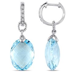 Blue Nile Swiss Blue Topaz and White Sapphire Halo Oval Drop Earrings in Sterling Silver (10x8mm) 06vXLacXFX
