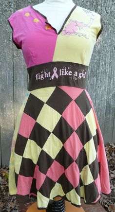 Fight Like a Girl Upcycled Tshirt Dress. $175.00, via Etsy.