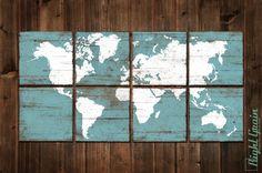 Distressed Vintage World Map Wall Art Custom Map Decor Office Kids Room Nursery Decor RightGrain Right Grain