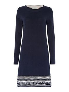 NEW BRAKEBURN FAIRISLE HEM JUMPER DRESS NAVY BLUE ECRU RRP £55 8 to 18