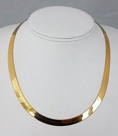 f253038c1e LLJMC Leslies 14kt Italy Gold Herringbone Chain Necklace 7mmW 18