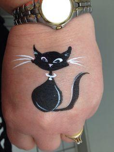 Simple black cat face paint design, Amazing Face by Amanda Nelson, Orlando, Fl