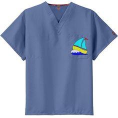 Fun Cartoon Sailboat Unisex Dickies V-Neck Scrubs Top