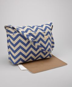 Diaper Bag and Changing Pad. Waterproof Lining with NEW Faux leather bottom in Blue Denton Chevron
