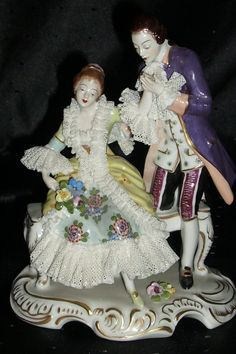 Antique Germany Volkstedt Dresden Lace Figurine Couple Figural Group | eBay