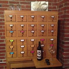 Card catalog drawers = perfect size for wine bottles