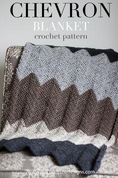 Chevron Blanket Crochet Pattern by Rescued Paw Designs