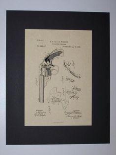 Wesson Revolving Fire Arm 1885 Patent drawing HistoricPatentArt.com Gun