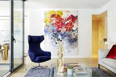 Love this painting in this living room! Abstract Flower Art, Canadian Artists, Texture Painting, Beautiful Paintings, Painting Techniques, Painting Inspiration, Colour Inspiration, Art Gallery, Bobby Burgers