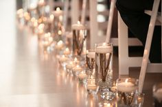 Indoor Wedding Ceremony   Candles   Aisle Decor   John MS Lecky UBC Boathouse