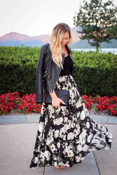 Zara Leather Jacket Crop Top Floral Maxi Skirt Early Fall Fashion Sunset Lake George New York