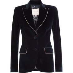 Roksanda Velvet Blazer (6005 MAD) ❤ liked on Polyvore featuring outerwear, jackets, blazers, blue, blue blazer jacket, blue jackets, collar jacket, blazer jacket and tall jackets