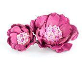 Set clip di capelli Fiore o spilla e anello.  In pelle rosa con perline.  Capelli accessorio.  Colore personalizzato.  Design 059.