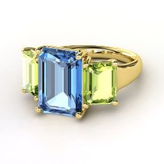 Emerald-Cut Blue Topaz Yellow Gold Ring with Peridot from Gemvara