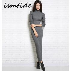 24fa06e0f9b Knitted Dresses Woman Cashmere Sweaters Warm Winter Long Sleeve Sexy Slim  Female Pullovers Turtleneck Sweater Dress