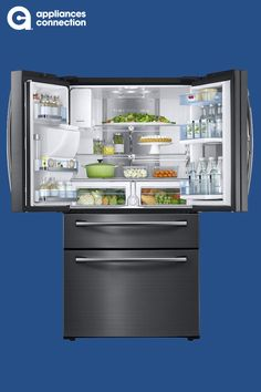 Samsung 36 Inch Black Stainless Steel Series Energy Star Rated Food Showcase French Door Refrigerator with cu. Capacity, Metal Cooling, External Ice and Water Dispenser and Twin Cooling Plus: Black Stainless Steel Big Fridge, Cooling System, Water Dispenser, Energy Star, Black Stainless Steel, French Door Refrigerator, Glass Shelves, Kitchen Designs, French Doors