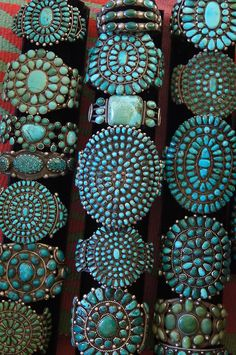 Turquoise cluster bracelets from Uchizono Gallery.