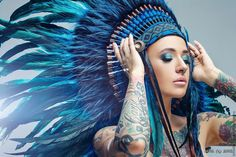 Купить Индейский головной убор - Голубая Лагуна II - голубой, орнамент, индейский стиль, индейцы