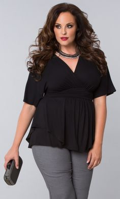 Big hair, red lips and our plus size Promenade Top is just what you need for an edgy night out.  Browse our entire made in the USA collection online at www.kiyonna.com.  #KiyonnaPlusYou
