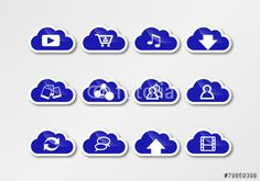 cloud computing sticker blue