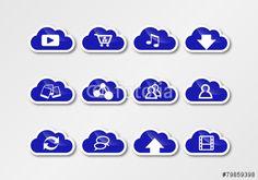 cloud computing sticker blue