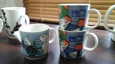 2 shoppailijapupu -mukia,  harvinaisuus, oli rajoitetun ajan myynnissä Halpa-Hallin 40v juhlavuoden mukina ja 1 muki pyöräilijäpuput.